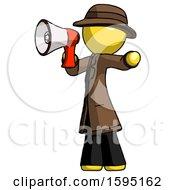 Yellow Detective Man Shouting Into Megaphone Bullhorn Facing Left