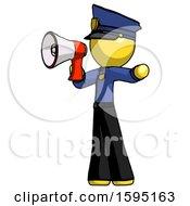 Yellow Police Man Shouting Into Megaphone Bullhorn Facing Left
