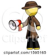 Yellow Detective Man Holding Megaphone Bullhorn Facing Right