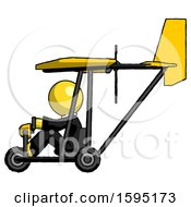 Yellow Clergy Man In Ultralight Aircraft Side View