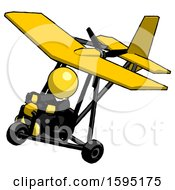 Yellow Clergy Man In Ultralight Aircraft Top Side View