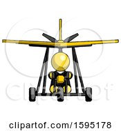 Yellow Clergy Man In Ultralight Aircraft Front View