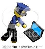 Yellow Police Man Throwing Laptop Computer In Frustration