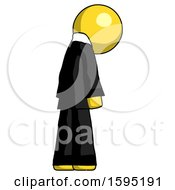 Yellow Clergy Man Depressed With Head Down Back To Viewer Right