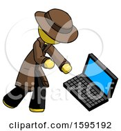Yellow Detective Man Throwing Laptop Computer In Frustration