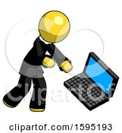 Yellow Clergy Man Throwing Laptop Computer In Frustration