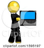 Yellow Clergy Man Holding Laptop Computer Presenting Something On Screen