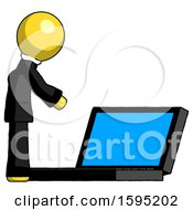 Yellow Clergy Man Using Large Laptop Computer Side Orthographic View