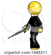 Yellow Clergy Man With Sword Walking Confidently