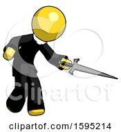 Yellow Clergy Man Sword Pose Stabbing Or Jabbing