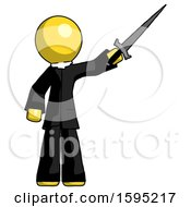 Yellow Clergy Man Holding Sword In The Air Victoriously