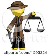 Yellow Detective Man Justice Concept With Scales And Sword Justicia Derived