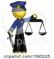 Yellow Police Man Justice Concept With Scales And Sword Justicia Derived