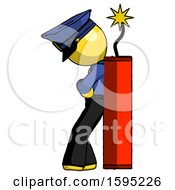 Yellow Police Man Leaning Against Dynimate Large Stick Ready To Blow