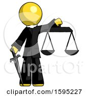 Yellow Clergy Man Justice Concept With Scales And Sword Justicia Derived