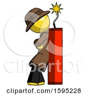 Yellow Detective Man Leaning Against Dynimate Large Stick Ready To Blow