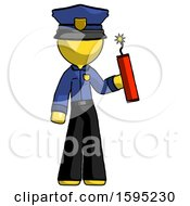 Yellow Police Man Holding Dynamite With Fuse Lit