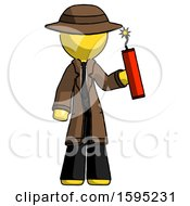 Yellow Detective Man Holding Dynamite With Fuse Lit
