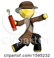 Yellow Detective Man Throwing Dynamite