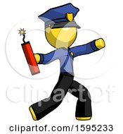 Yellow Police Man Throwing Dynamite