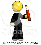 Yellow Clergy Man Holding Dynamite With Fuse Lit