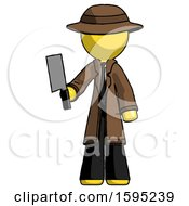 Yellow Detective Man Holding Meat Cleaver