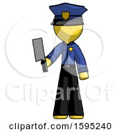 Yellow Police Man Holding Meat Cleaver