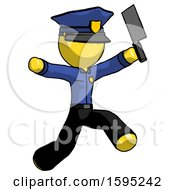 Yellow Police Man Psycho Running With Meat Cleaver