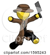 Yellow Detective Man Psycho Running With Meat Cleaver