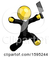 Yellow Clergy Man Psycho Running With Meat Cleaver