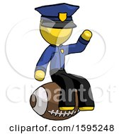 Yellow Police Man Sitting On Giant Football