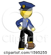 Yellow Police Man Standing With Foot On Football