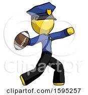 Yellow Police Man Throwing Football