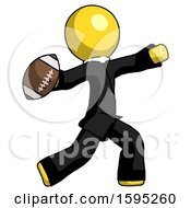 Yellow Clergy Man Throwing Football