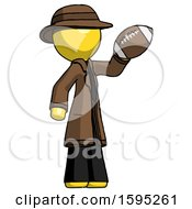 Yellow Detective Man Holding Football Up