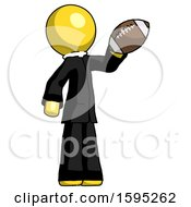 Yellow Clergy Man Holding Football Up
