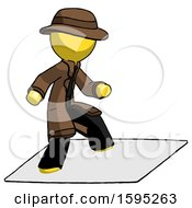Yellow Detective Man On Postage Envelope Surfing