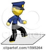 Yellow Police Man On Postage Envelope Surfing