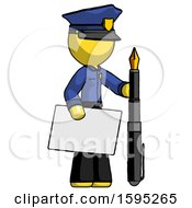 Yellow Police Man Holding Large Envelope And Calligraphy Pen