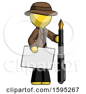 Yellow Detective Man Holding Large Envelope And Calligraphy Pen