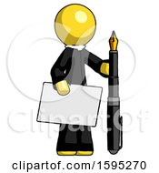 Yellow Clergy Man Holding Large Envelope And Calligraphy Pen