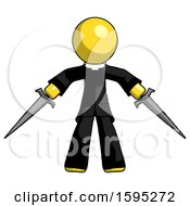 Yellow Clergy Man Two Sword Defense Pose
