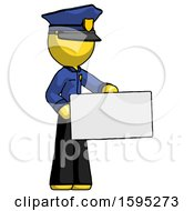 Yellow Police Man Presenting Large Envelope