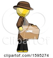 Yellow Detective Man Holding Package To Send Or Recieve In Mail