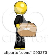 Yellow Clergy Man Holding Package To Send Or Recieve In Mail