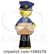 Yellow Police Man Holding Box Sent Or Arriving In Mail
