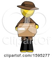 Yellow Detective Man Holding Box Sent Or Arriving In Mail