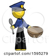 Yellow Police Man With Empty Bowl And Spoon Ready To Make Something