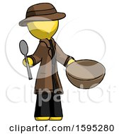 Yellow Detective Man With Empty Bowl And Spoon Ready To Make Something