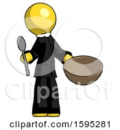 Yellow Clergy Man With Empty Bowl And Spoon Ready To Make Something